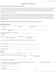 Permission to Travel Form