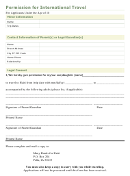 """Permission Form for International Travel"" - Pella, Iowa"
