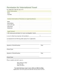 Permission Form for International Travel - Pella, Iowa