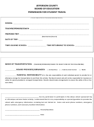Permission Form for Student Travel