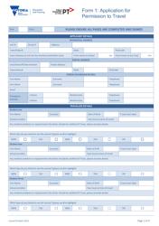 Application Form for Permission to Travel - Public Transport Victoria - Victoria Australia