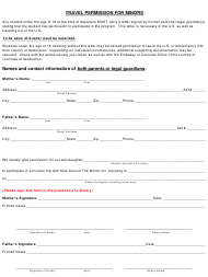Travel Permission Form for Minors