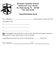 """Travel Permission Form - Keswick Christian School"""