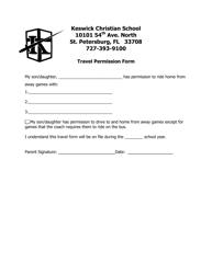 Travel Permission Form - Keswick Christian School