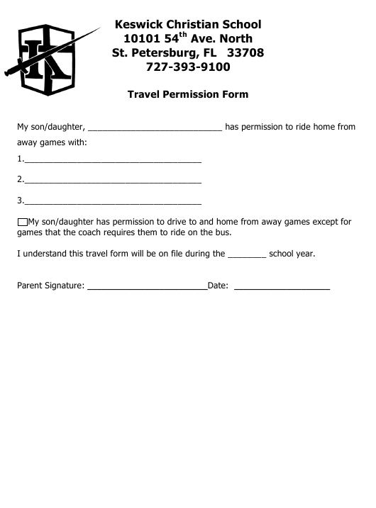 """Travel Permission Form - Keswick Christian School"" Download Pdf"