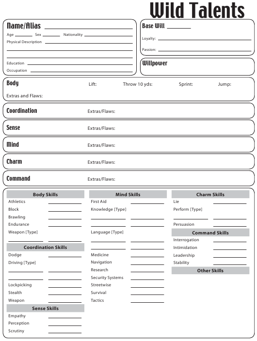 """Wild Talents Character Sheet"" Download Pdf"
