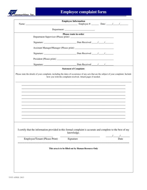 """Employee Complaint Form - Transmaritime Inc."" Download Pdf"