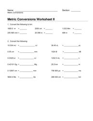 Metric Conversions Worksheet I and Ii Download Printable ...