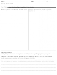 """Identity Chart Worksheet - """"how I See Myself and How Other's May See Me"""""""