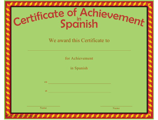 """Certificate of Achievement in Spanish Template"" Download Pdf"