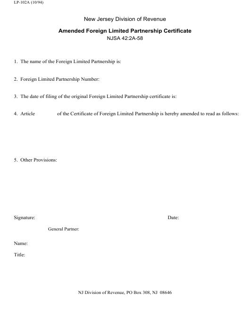 Form LP-102a  Printable Pdf