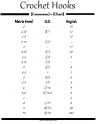 Crochet Hooks Conversion Chart