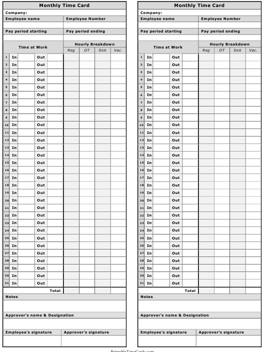 monthly time card template