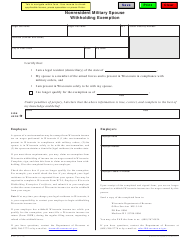 """Form W-221 """"Nonresident Military Spouse Withholding Exemption"""" - Wisconsin"""