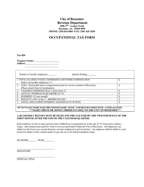 """Occupational Tax Form"" - City of Bessemer, Alabama Download Pdf"
