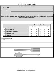 Restaurant Suggestion Card Template
