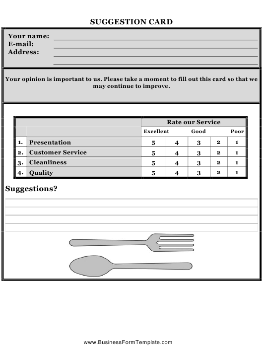 """""""Restaurant Suggestion Card Template"""" Download Pdf"""