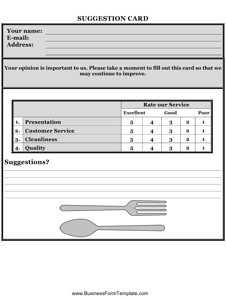 Restaurant Suggestion Card Template Download Printable PDF For Customer Information Card Template