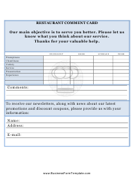 Restaurant Comment Card Form