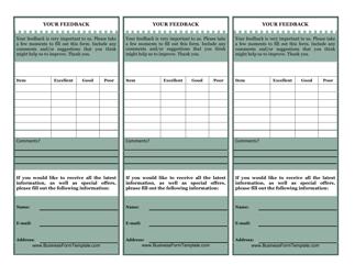 """""""Customer Feedback Card Form"""""""