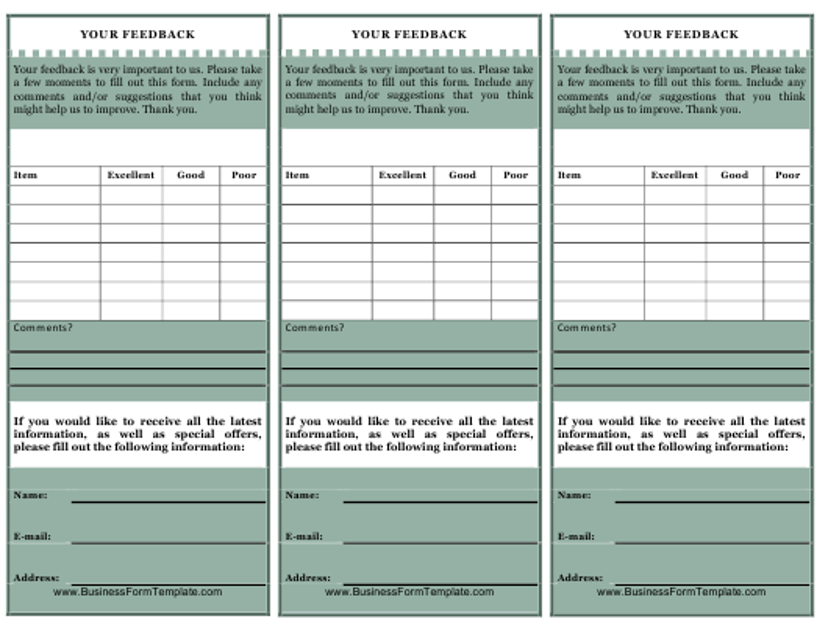 """""""Customer Feedback Card Form"""" Download Pdf"""