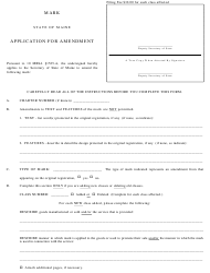 "Form MARK-3 ""Application for Amendment"" - Maine"
