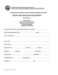 Form DFS-UP-155 Safe Deposit Box Inventory Form Of Property Presumed Unclaimed - Florida