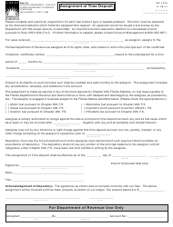 """Form DR-157A """"Assignment of Time Deposit"""" - Florida"""