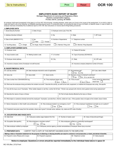 Form WC-100  Printable Pdf