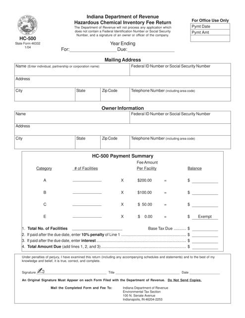 Form HC-500  Printable Pdf