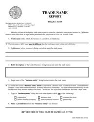 "SOS Form 0021 ""Trade Name Report"" - Oklahoma"