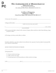 """Certificate of Resignation of Director or Officer"" - Massachusetts"