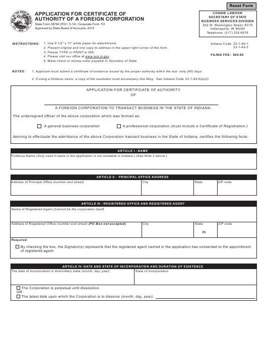 State Form 38784 (Corporate Form 112)  Printable Pdf
