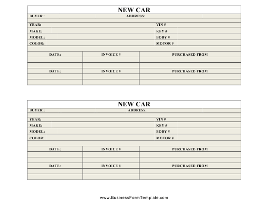 """""""New Car Inventory Card Template"""" Download Pdf"""