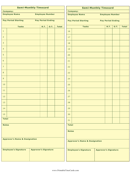 """Semi-monthly Time Card Template"" Download Pdf"
