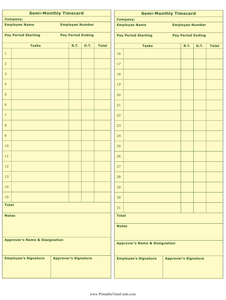 Semi-monthly Time Card Template Download Printable PDF ...