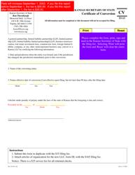 Form CV 53-13 Certificate of Conversion - Kansas