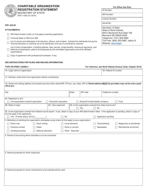 Form SFN11300  Printable Pdf