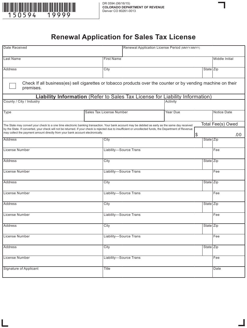 Form 0594 Download Printable PDF Or Fill Online Renewal Application For Sales  Tax License Colorado | Templateroller