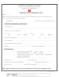 "Form CS-001 ""Request for Certified Copy"" - Washington, D.C."