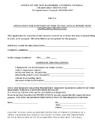 "Form NHCT-4 ""Application for Extension of Time to File Annual Report With Charitable Trusts Unit"" - New Hampshire"