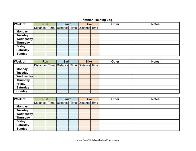 """Weekly Triathlon Training Log Template"" Download Pdf"