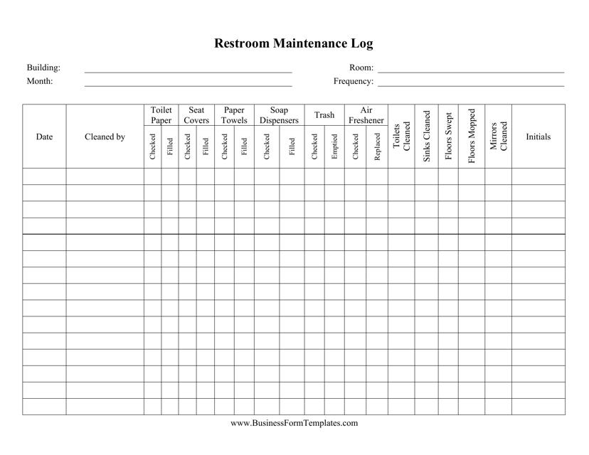 """""""Restroom Maintenance Log Template"""" Download Pdf"""