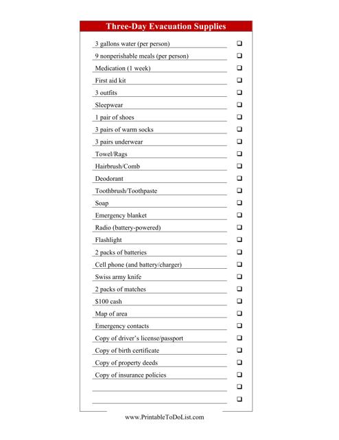 """Three-Day Evacuation Supplies Checklist Template"" Download Pdf"