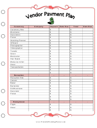 """Wedding Vendor Payment Plan Template"""