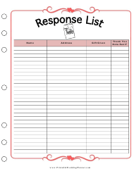 Response List Spreadsheet