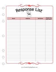 """Response List Spreadsheet"""
