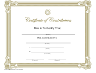 """""""Certificate of Contribution Template"""""""