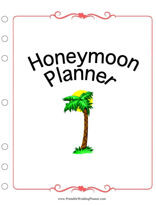 Honeymoon Planner Cover Page Template Download Pdf