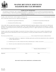 """Form ST-A-126 """"Affidavit of Exemption"""" - Maine"""